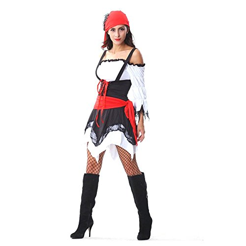 Kyson Women's 4 Pieces Vixen Pirate Costume Set With Head Waist Scarf (4 Piece Vampire Costumes)