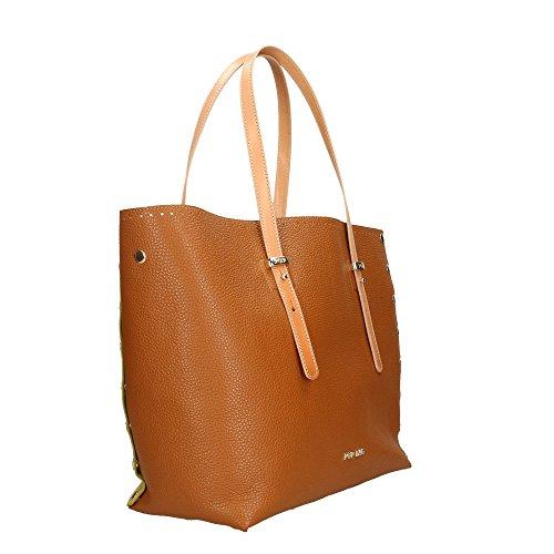 main Cm véritable Sac en à Marron Impression 34x31x15 Bags Italy Made Dollar cuir POP in Vacch femme Citron 6Aqwp0Ht