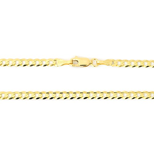 Solid 14k Yellow Gold Comfort Cuban Curb 3.6 Millimeters Chain Bracelet, 7 Inches