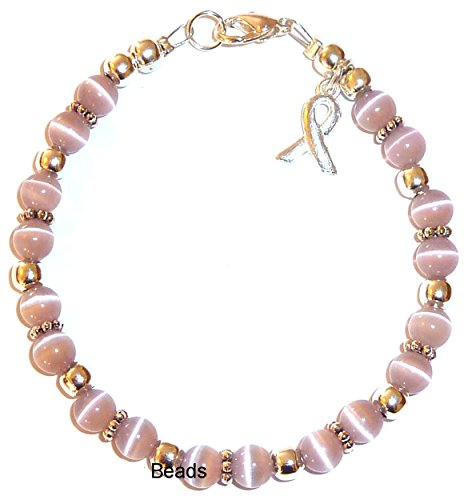- Hidden Hollow Beads Cancer Awareness Bracelet, For Showing Support or Fundraising Campaign, Adult Size with Extension, 6mm Cat's Eye Beads. Comes Packaged. (All Survivors - Lavender)
