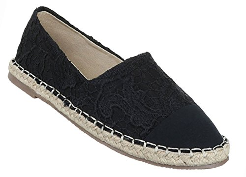 Damen Schuhe Halbschuhe Slipper Freizeitschuhe Schwarz Schwarz