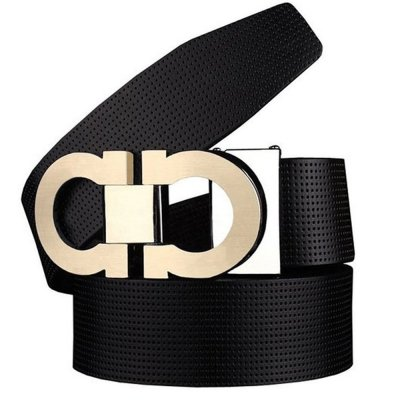 Men's Smooth Leather Buckle Belt 35mm Leather up to 42inch (105-115cm for Choose) 110cm Black-Gold