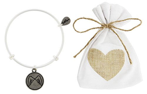 (BellaRyann Vintage Style Silver-Plated Bangle Bracelet with Burlap Heart Gift Bag (Angel)