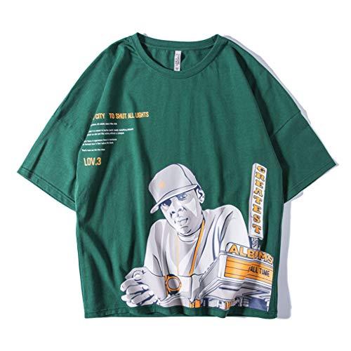 Ins Sciolto Vento Hip Corte Harajuku green Corta Maniche Xrfhzt Coppia Bf shirt Loose T Manica Grasso m Pigro Hop fpqWAO