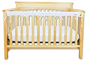 """Trend Lab Fleece CribWrap Rail Cover for Long Rail, White, Narrow for Crib Rails Measuring up to 8"""" Around!"""