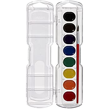 Prang Washable Watercolor Set, 8 Classic Colors with Brush, Assorted Colors (80525)