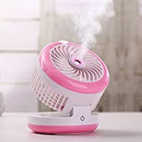 Tianke USB Portable Fan, Cooling Fan with Power Bank with Beauty Humidifier, 3 in 1 Handheld Misting Fan for Home Outdoor and Office (Pink)