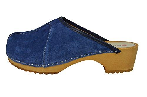 Buxa Scamosciata Pelle con Donne Blu per Le Centrale Cucitura Legno Zoccoli in wnxwrABSq