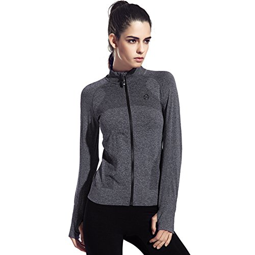 Speedle Women's Workout and Yoga Zip Up Stretchy Jacket with Thumb Holes Gray M