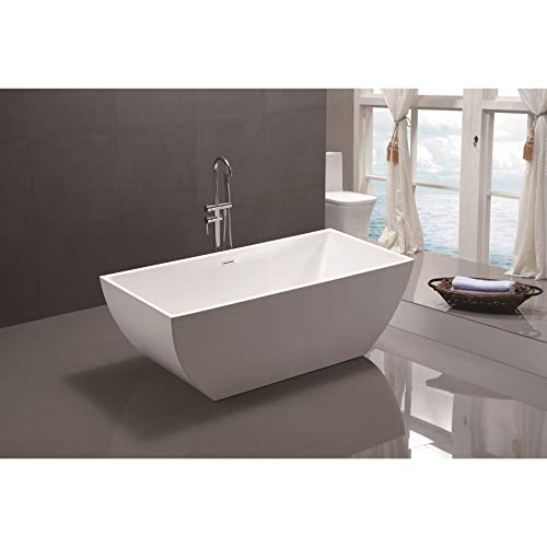 Vanity Art 59 Inch Freestanding Acrylic Bathtub | Modern Stand Alone Soaking Tub with Chrome Finish, UPC Certified, Slotted Overflow & Pop-up Drain - VA6821-S