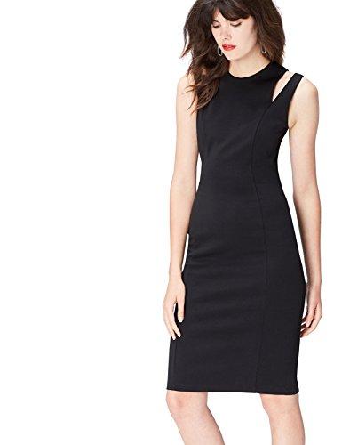 Schulter Schwarz Black Damen Kleid mit FIND Scuba Cutouts pWTvw6W1q