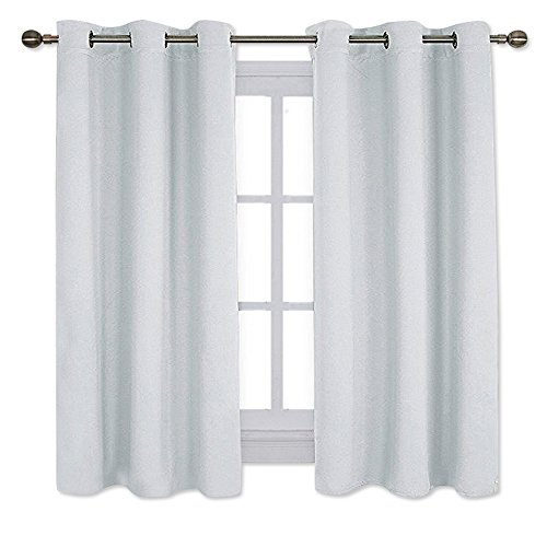 NICETOWN Window Treatment Thermal Insulated Grommet Room Darkening Curtains Drapes for Bedroom(2 Panels,42 by 63,Platinum-Greyish White)