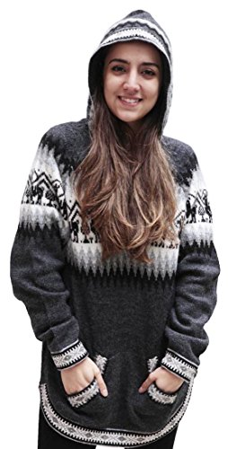 Women's Hooded Alpaca Wool Knitted Hoodie Sweater Llamas Ethnic Design (XL, (Alpaca Wool Sweater)