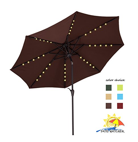 Patio Watcher 9 FT Outdoor Solar Powered Patio Umbrella, 40 LED with 2 Charge Mode(Solar and Adaptor),250GSM Fabric with Push Button Tilt and Crank,Chocolate