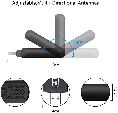 Mac 10.6-10.15 FSTgo WLAN Stick WiFi Adapter-1200Mbps USB 3.0 Wireless Network Dongle with Dual Antenna for PC//Desktop//Laptop//Mac Dual Band Support Win XP//7//8//10//vista Linux