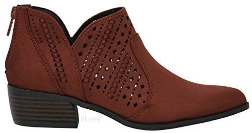 Product image of MVE Shoes Women Almond Toe Faux Leather Ankle Booties - Back Zipper Laser Decoration Booties, Emerge rus ISU 10