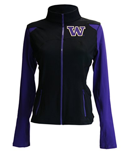 Washington Huskies NCAA Twin Vision Activewear Women's Yoga Track Jacket (Black) (Medium)