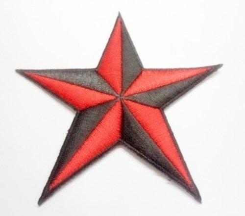 1x Red Black Nautical STAR Tattoo Emblem Logo Bike Car Motorcycle racing Iron/sewing Patch