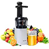 Secura Slow Juicer Masticating Juicer Big Mouth Cold Press Juicer, Low Speed Juicer for High Nutrient Fruit and Veggies Juice (White)