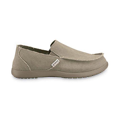 Crocs Men's Santa Cruz Canvas Slip-On Shoes Khaki/Khaki