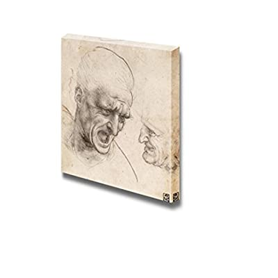 Study of Two Warriors' Heads for The Battle of Anghiari by Leonardo da Vinci - Canvas Print Wall Art Famous Oil Painting Reproduction - 24