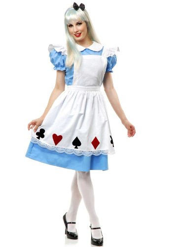 Charades Women's Story Book Alice Costume Set, Blue/White, Small (Book Costumes For Adults)