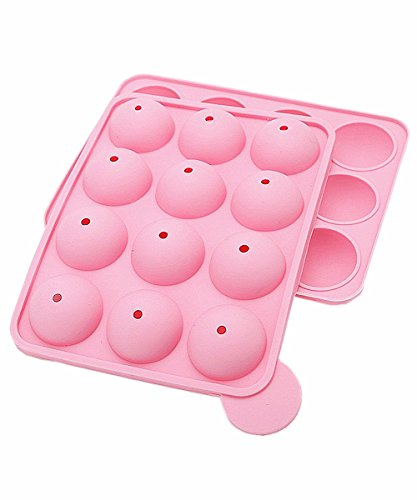12-Cavity Round Shape Silicone Mold for Cake Lollipop Ice Sphere Chocolate, 1 Pair / Package, Random Color