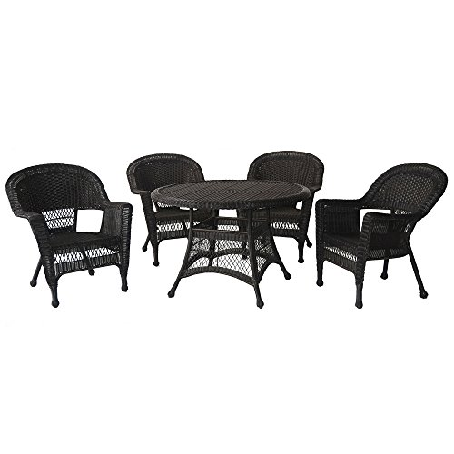 Jeco W00202D-A-G 5 Piece Wicker Outdoor Dining Set, Espresso For Sale