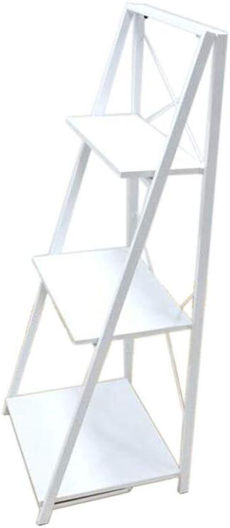 Jcnfa-Estante Librero Estanteria Vintage Estante Portátil De La Escalera Estantería Plegable Muebles Decorativos De Madera con Estructura Metálica (Color : Blanco, Tamaño : 20.07 * 16.14 * 48.81in): Amazon.es: Hogar
