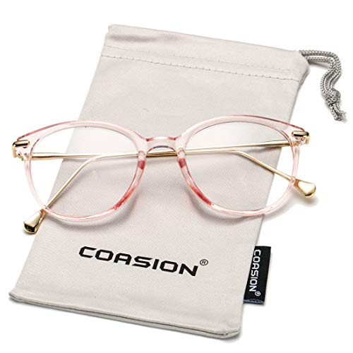 COASION Vintage Round Clear Glasses Non-Prescription Eyeglasses Frames for Women Men (Clear ()
