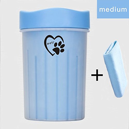 Pati Dog Paw Cleaner - Portable Dog & Cat Paw Washer Cup - Pet Cleaning Soft Brush Cup - Comfy Pet Foot Washer 2 Sizes/3 Colors(Medium, Blue) (Paw Mitts)