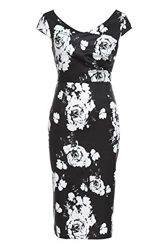AUQCO Womens 1950s Vintage Dress Floral Cocktail Tea Length Pencil Dress Cap Sleeve Black