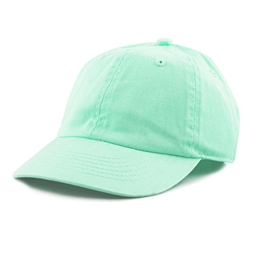 THE HAT DEPOT Kids Washed Low Profile Cotton and Denim Baseball Cap (Aqua) (Washed Denim Girls)