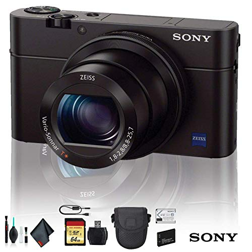 Sony Cyber-Shot DSC-RX100 IV Camera DSCRX100M4/B with Soft Bag, Additional Battery, 64GB Memory Card, Card Reader, Plus Essential Accessories (Best Memory Card For Sony Rx100)