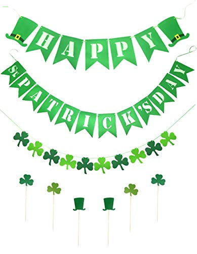 3 Sets Happy St. Patrick's Day Shamrock Clover Banner Decorations St Patricks Day Irish Party Ornaments Supplies with 6 Pcs Cupcake Toppers
