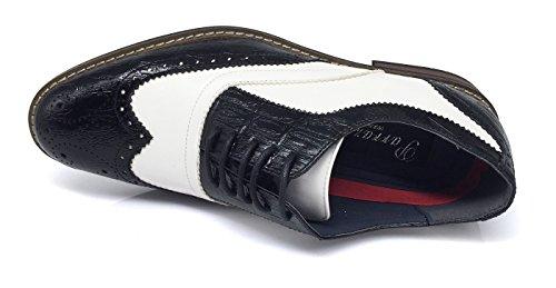 Enzo Romeo Mens Dress Oxfords Shoes Italy Modern Designer Wingtip Captoe 2 Tone Lace Up Shoes Conrad3_black / White
