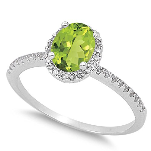 925 Sterling Silver Faceted Natural Genuine Green Peridot Oval Halo Ring Size 10