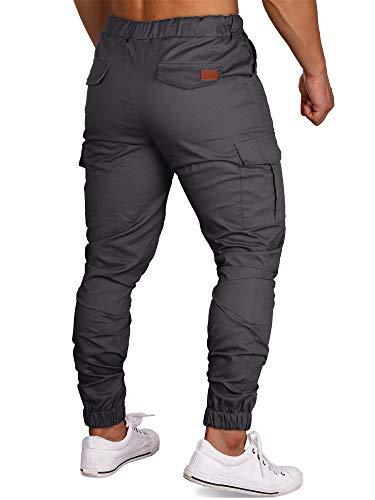 Pants Scuro Cargo Laterali Coulisse Sport Lunghi Tasche Uomo Zoerea Con Pantaloni Casual Trousers Grigio Maschio 4Rpaqx1