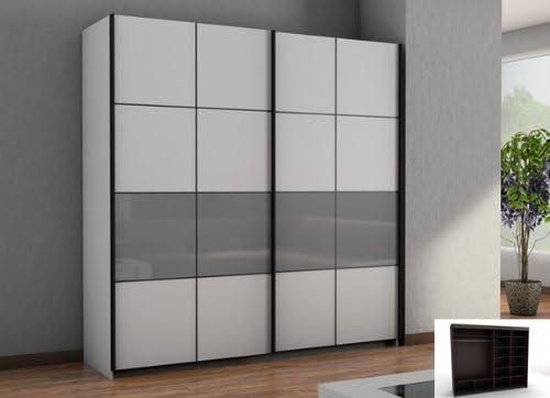 Armario de puertas correderas armario 2-puertas blanco/gris cristal: Amazon.es: Hogar