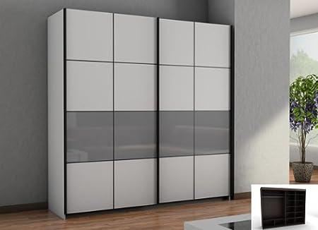 Armario de puertas correderas armario 2-puertas blanco/gris ...