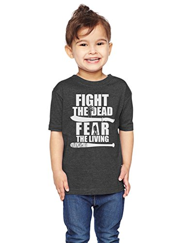 Brain Juice Tees Fight The Dead Fear The Living Walking Dead Unisex Toddler Shirt (5/6T, Vintage Smoke) (T-shirt Walking Vintage)