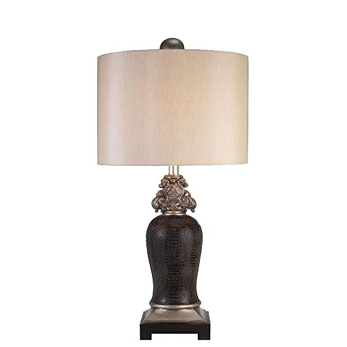 Brenthouse Greek Table Lamp with Faux Crocodile Leather in Sterling & Brown - Brown Faux Crocodile Table Lamp