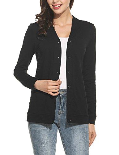 ELESOL Women's V Neck Button Down Long Sleeve Basic Soft Knit Cardigan Sweater