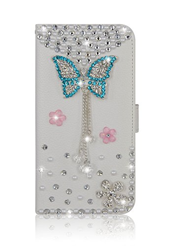 iPhone 6S Plus Wallet Case DIY Handmade Bling Crystal Shiny Rhinestone Pearls Elegant White Flowers Design with Card Holders Magnetic Clasp Smart Cove…