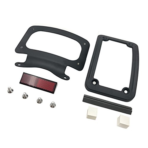HTT Motorcycle Black Laydown Curved License Plate Bracket Tag Holder For '10-later FLHX, FLHXS, FLHXSE, FLTRX, FLTRXS and '10-'12 FLHXSE (Street Glide FLHX/ Road Glide FLTRX) Curved Laydown License Plate Mount