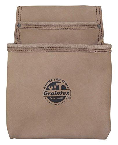Graintex ST2008 2 Pocket Heavy Duty Top Grain Leather Nail & Tool Pouch Wide Belt Tunnel Slot - Top Grain Leather Tool