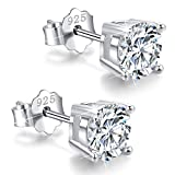 White Gold Plated Sterling Silver Cubic Zirconia Stud Earrings 3mm-8mm Options, Simulated Diamond CZ Studs Hypoallergenic Jewelry (6mm)