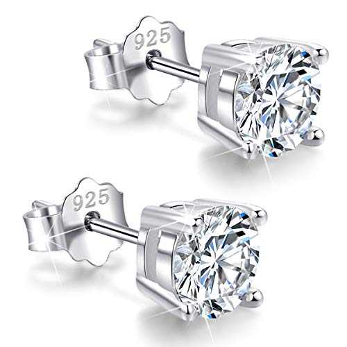 White Gold Plated Sterling Silver Cubic Zirconia Stud Earrings 3mm-8mm Options, Simulated Diamond CZ Studs Hypoallergenic Jewelry (7mm)