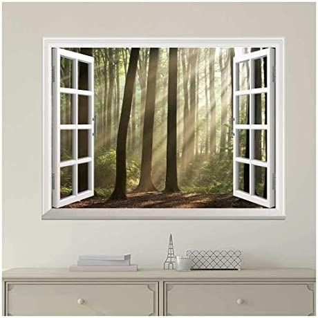 Unbelievable Expert Craftsmanship Classic Design White Window Looking Out Into a Foggy Forest with Rays Peeking Through Wall Mural