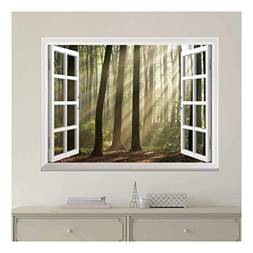 White Window Looking Out Into a Foggy Forest with Rays Peeking Through Wall Mural